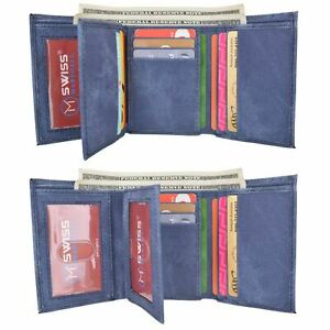 Swiss Marshall Men's Vegan Leather RFID Trifold Wallet with 2 ID Windows Extra C
