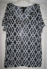 NWT INC INTERNATIONAL CONCEPTS MOROCCAN WINDOW M RHINESTONE CUT OUT SLEEVE TOP
