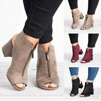 Womens Block Mid High Heels Chunky Ankle Boots Sandals Open Toe Zip Party Shoes