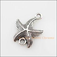 10Pcs Tibetan Silver Tone Starfish Charms Pendants Connectors 17x23mm