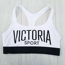 "Victoria Secret Sport ""The Player"" Racerback Sports Bra Black White Logo Size L"