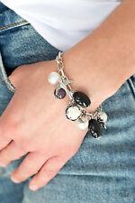 Paparazzi Jewelry pearls,black beading, charms clasp bracelet nwt