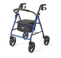 "Medline Basic Steel Rollator with 8"" Wheels - Available in Red, Green or Blue"