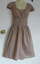 TOPSHOP brown spotted floral tea dress sz 12