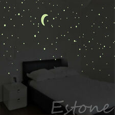 100PCS Sticker PVC Wall Ceiling Glow In The Dark Light Green Stars Kids Bedroom