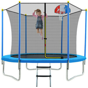 8FT Trampoline with Safety Enclosure Net Basketball Hoop for Kids and Adults