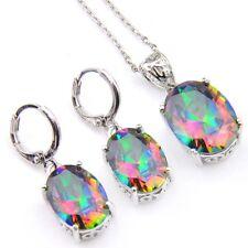Gorgeous Shiny 2 Pcs 1 Lot Natural Rainbow Fire Topaz Silver  Earrings Pendants