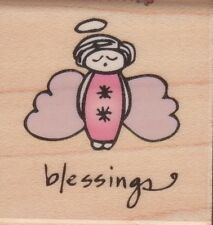ANGEL BLESSINGS - Wood Mounted Rubber Stamp - Hampton Art