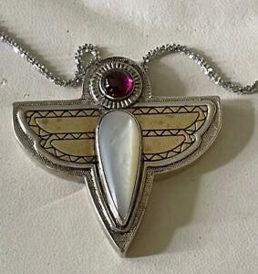 Victoria Adams Relios Sterling Silver  18k MOP Thunderbird Necklace