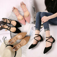 Fashion Women's Ladies Point Toe Buckle Strap Square Heel Sandals Med Heel Shoes