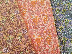70's FLORAL PRINTED POLY COTTON FABRIC - WIDTH 112 CM
