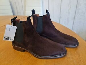 H&M BROWN SUEDE FLAT ANKLE BOOTS SIZE 7.5 NEW