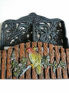 Antique Wrought Iron Metal Letter Holder Bird Parrot Parakeet Cockatiel