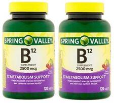 2pk Spring Valley B12 Cherry Fast Dissolve Vitamins 2500 mcg 120 Tablets Each