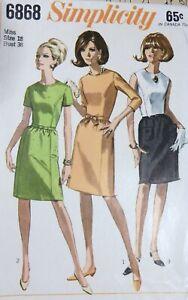 Vtg 1960s Simplicity 6868 Slim Side Seam Belt Day Dress SEWING PATTERN 18