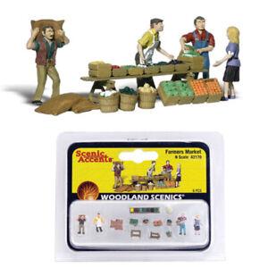 Woodland Scenics Accents A2170 Figures - Farmers Market - Pkg (14) N Scale