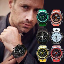 Mens Silicon Band Round Double Time Student Sport Analog Quartz Chic Wrist Watch