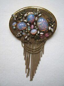Vintage Marena Germany Stunning Brooch Pendant Dragons Breath Glass Pearls