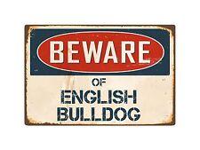 "Beware Of English Bulldog 8"" x 12"" Vintage Aluminum Retro Metal Sign VS159"