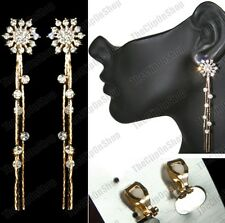 CLIP ON 8cm long  LIQUID GOLD FASHION star EARRINGS slinky CRYSTAL rhinestone