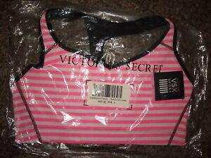 NWT VICTORIAS SECRET VSX Racerback Sport Bra Striped Pink White Large