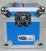"1 X NEO Aluminum Records 7"" Blue Storage for 100 Vinyl Singles Flight Carry Case"