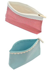 Clarins Make Up Zipper Toiletry Bag Choice of 2 Colours Pink or Aqua Blue