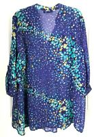 Apt.9 Womens Size 3X Blouse Purple/Aqua Green  Roll Tab Sleeve
