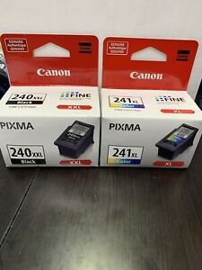 Set 2 NEW GENUINE Canon PG-240XXL Black CL-241XL Color Ink PIXMA FINE Cartridges