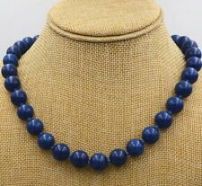 12mm Natural lapis lazuli gemstone jewelry necklace18'' Tibetan silver JN383