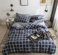 3D Navy Blue Lattice Gray KEP3035 Bed Pillowcases Quilt Duvet Cover Kay