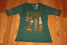 NWT Womens KNIGHTS COLORADO ST RAMS Dark Green 1/2 Sleeve Shirt L Large