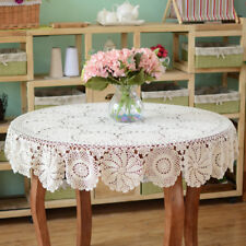 Vintage Hand Crochet Lace Doily Round Table Topper White Tablecloth Cover 51inch