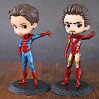 Q Posket Iron Man Tony Stark Spider-Man Peter Parker PVC Figure Model Toy