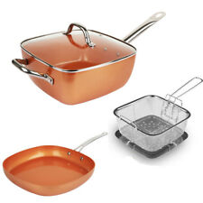Copper Square Pan,Induction base Frying Pan With Lid 5 Piece Set - BRAND NEW