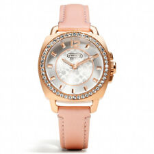 New Authentic Coach Women Rose Gold Boyfriend Swarovski Glitz Watch 14501753