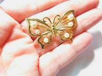 Signed Marvella Off White Faux Pearl Gold Tone Metal Butterfly Brooch Vintage