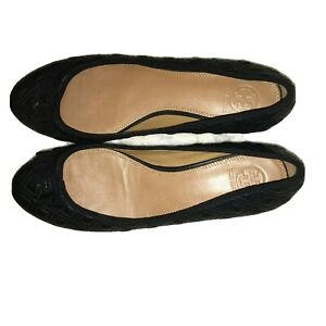 9.5 Tory Burch Marion Quilted Ballet Flats Black Leather Shoes 21-2252