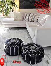 two leather pouf Genuine Black Leather Pouf Leather Boho Ottoman Footstool chair