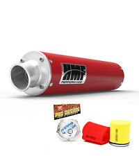 HMF Performance Slip On Exhaust Muffler Red Pro Design Foam Filter Warrior 350