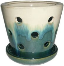Garden Pot Ceramic Planter Indoor Outdoor Plant Flower Home Decor Cream Blue 5""