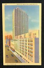 NEW YORK Radio City Music Hall~New York City~Old Cars~1947 Linen Postcard