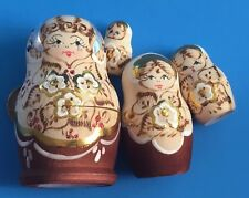 "Set 4 Vintage Silver & Gold Russian Nesting Dolls Flowers Christmas 3.5"" High"