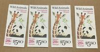 4 Booklets Scott # BK202 29 Cent Wild Animals 2705 To 2709 -US MNH stamps Zoo