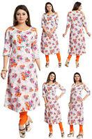 UK STOCK - WOMEN FASHION INDIAN KURTA KURTI TUNIC TOP SHIRT SC4001 Orange