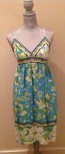 Donna Morgan Silk Turquoise- Multi Color Dress - Spaghetti Straps - Size 6