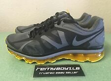 Nike Air Max+ 2012 Black Grey Yellow Mens Sz 12 Livestrong 2011 1 90 360 NEW!!!