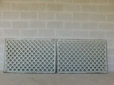 Large Antique Wrought Iron Trefoil Design Wall Heat Grate Decor 46w - a Pair