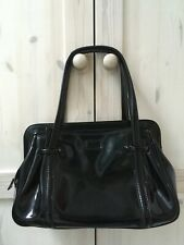 Lulu Guinness Shiny Black Patent Leather Medium Franka Bag Frame Tote Smart