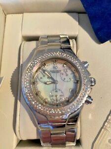 Technomarine Diamond Millenium Chronograph Steel Pearl Face Large Watch